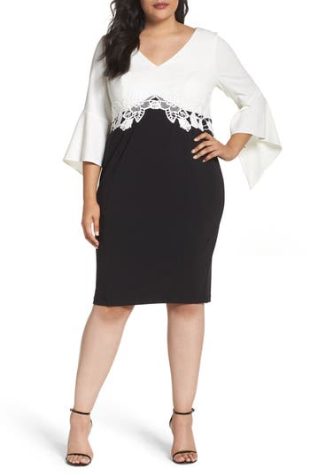 Plus Size Women's Sangria Bell Sleeve Sheath Dress