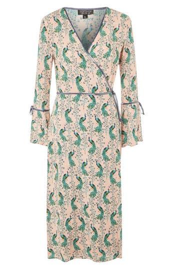 Women's Topshop Peacock Midi Wrap Dress, Size 2 US (fits like 0) - Beige