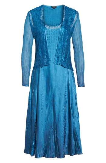 Women's Komarov Lace & Charmeuse Dress With Jacket, Size Small - Blue