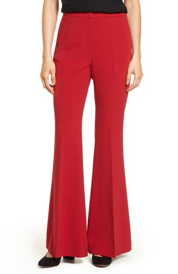 Vintage High Waisted Trousers, Sailor Pants, Jeans Womens Lewit Flared Crepe Pants Size 4 - Red $179.40 AT vintagedancer.com