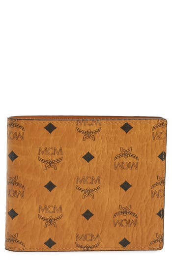 Mcm Logo Coated Canvas & Leather Wallet - Brown