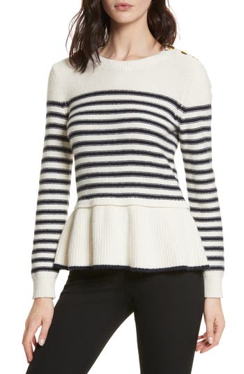 Women's Kate Spade New York Navy Stripe Peplum Sweater, Size Small - Beige