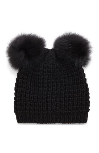 Women's Kyi Kyi Genuine Fox Fur Pompoms Hat -