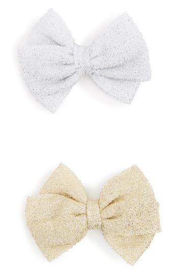 Plh Bows & Laces Set Of 2 Glitter Bows, Size 0-24 M - Yellow