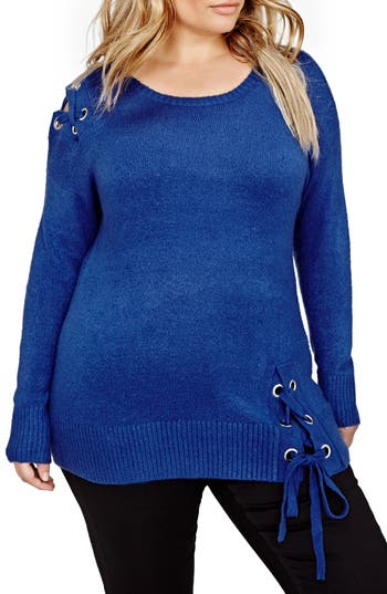 Plus Size Women's Addition Elle Love And Legend Lace-Up Sweater