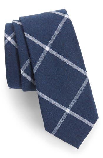 Men's Nordstrom Men's Shop Halsey Windowpane Cotton Skinny Tie, Size Regular - Blue