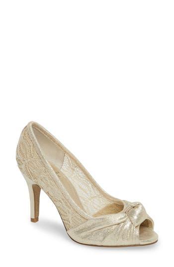 Vintage Inspired Wedding Dress | Vintage Style Wedding Dresses Womens Adrianna Papell Francesca Knotted Peep Toe Pump Size 11 M - Metallic $119.95 AT vintagedancer.com