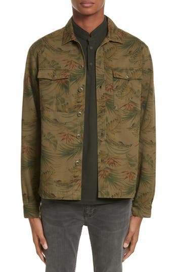 Men's Vintage Style Coats and Jackets Mens The Kooples Flower Denim Jacket Size Medium - Beige $235.00 AT vintagedancer.com