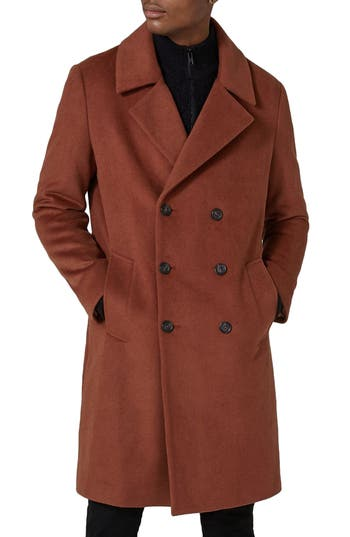 1940s Men's Fashion Clothing Styles Mens Topman Oversize Double Breated Coat Size Small - Orange $180.00 AT vintagedancer.com