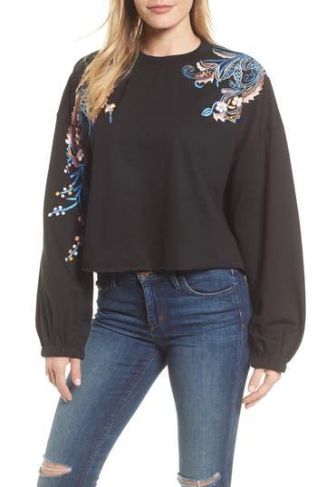 Kas New York Carlisle Embroidered Sweatshirt, Black
