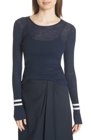 Vince Stripe Cuff Wool Sweater, Blue