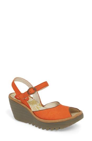 Women's Fly London Yora Wedge Sandal, Size 8-8.5US / 39EU - Orange