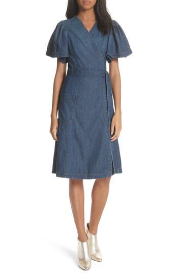 La Vie Rebecca Taylor Denim Wrap Dress, Blue
