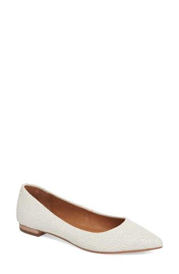 Frye Sienna Pointy Toe Ballet Flat- White