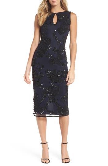 Pisarro Nights Embellished Key Hole Sheath Dress, Blue