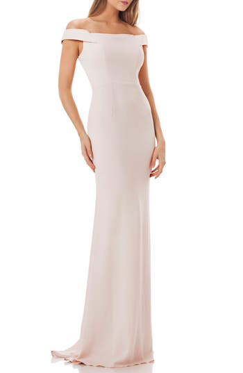 Carmen Marc Valvo Crepe Gown, Ivory