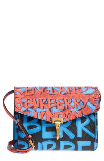 Burberry Small Macken Graffiti Print Leather Crossbody Bag - Black