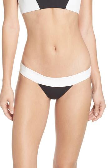 Pilyq Color Block Banded Bikini Bottoms, Black