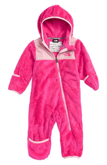 Infant The North Face Oso Hooded Fleece Romper, Pink