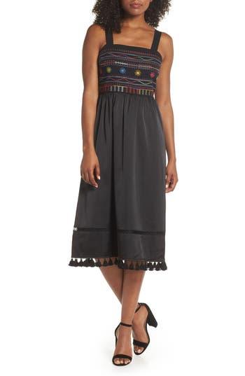 Sam Edelman Embroidered Midi Dress, Black