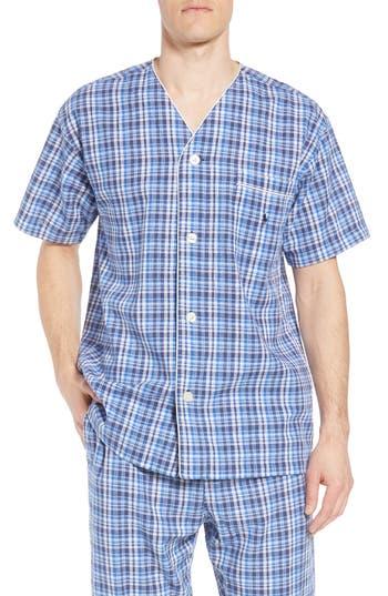Polo Ralph Lauren Walker Plaid Cotton & Linen Pajama Shirt, Blue