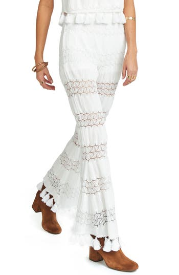 Show Me Your Mumu Tassel Flare Pants, White