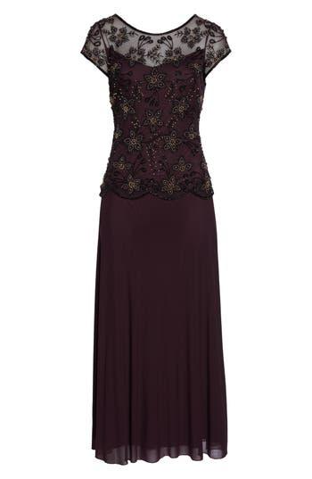Pisarro Nights Beaded Mesh Gown, Purple