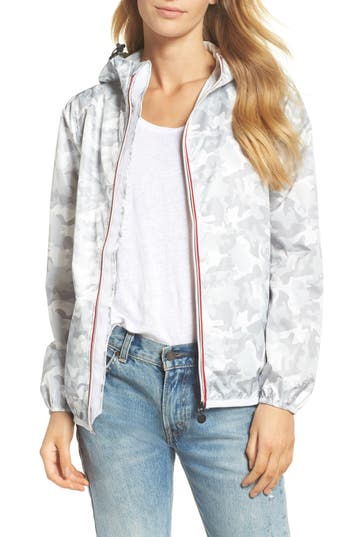 O8 Lifestyle Print Packable Rain Jacket, White