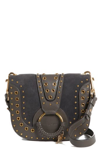 See By Chloe Small Hana Studded Leather Crossbody Bag - Brown
