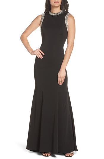 MAC Duggal Embellished Trumpet Gown, Black