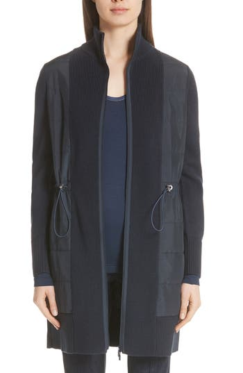Lafayette 148 New York Quilted Panel Wool Sweater Coat, Blue