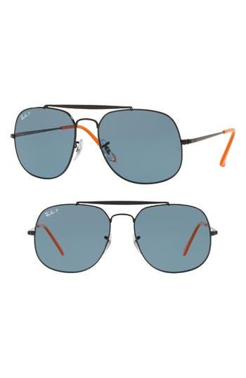 Ray-Ban 57Mm Polarized Aviator Sunglasses - Black