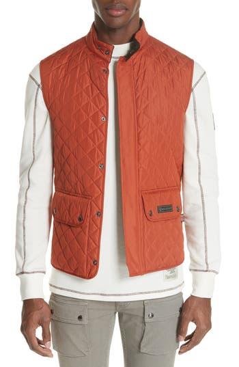 Belstaff Waistcoat Tech Quilted Vest, Orange
