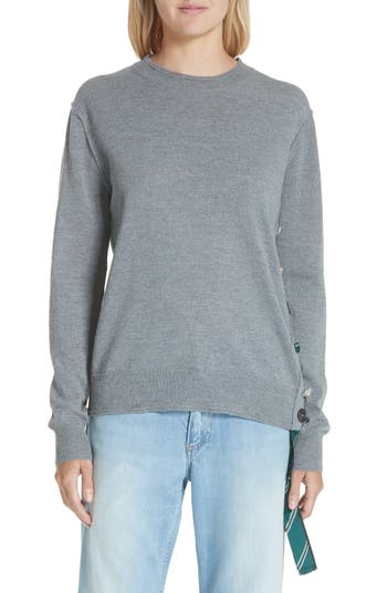 Marc Jacobs Button & Scarf Detail Wool Sweater, Grey