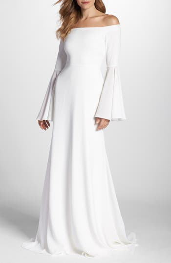 Joanna August Bowie Off The Shoulder Bell Sleeve Gown, White