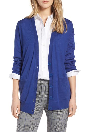 Halogen V-Neck Merino Wool Cardigan, Blue