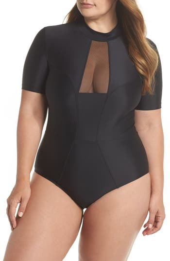 Plus Size Chromat Tidal Back Zip One-Piece Swimsuit, Black