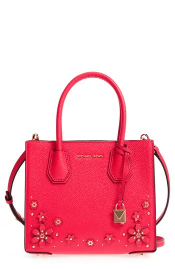 15afc0f5eb95 Michael Michael Kors Mercer Floral Embellished Leather Crossbody Bag In  Deep Pink