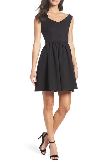 French Connection Glass Fit & Flare Dress, Black