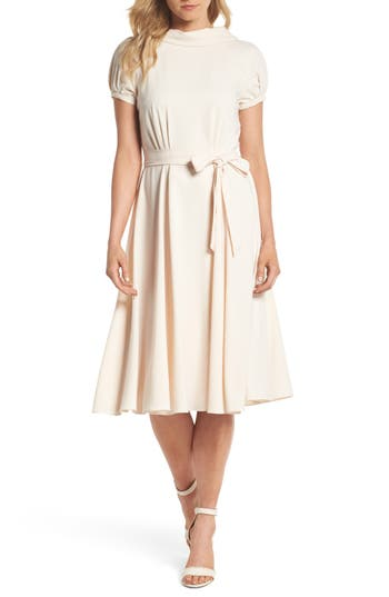Vintage Inspired Wedding Dress | Vintage Style Wedding Dresses Womens Gal Meets Glam Collection Eleanor Tie Waist Satin Twill Dress $178.00 AT vintagedancer.com