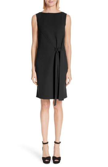 Oscar De La Renta Side Tie Wool Blend Crepe Dress, Black