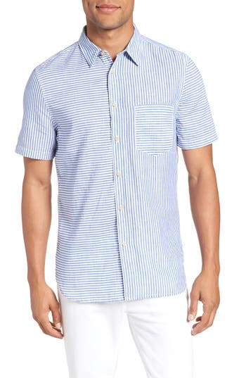 French Connection Stripe Chambray Cotton & Linen Sport Shirt, Blue