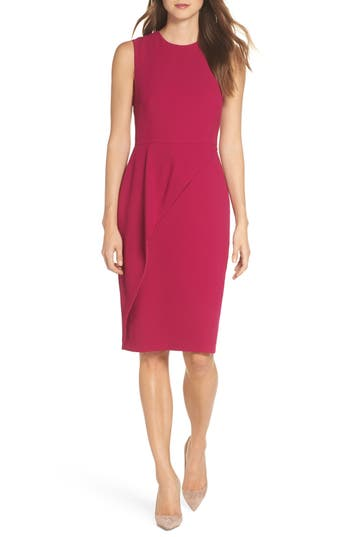 Eliza J Asymmetrical Ruffle Sheath Dress, Pink