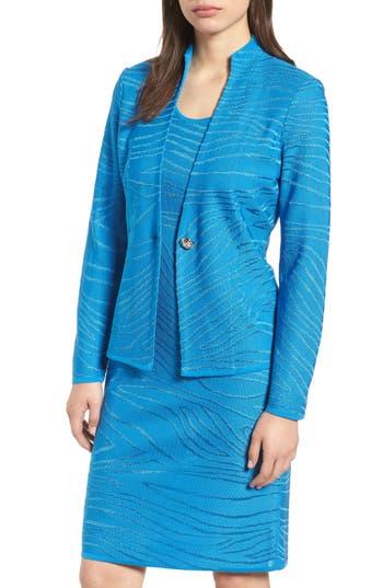 Ming Wang Jacquard Knit Long Sleeve Jacket, Blue