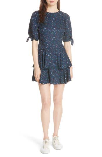 Rebecca Taylor Speckled Dot Silk Minidress, Blue
