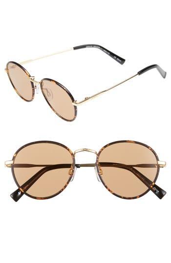 Le Specs Zephyr Deux 50Mm Round Sunglasses - Syrup Tortoise