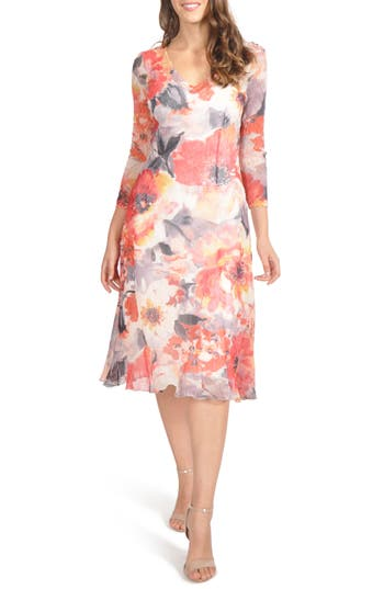 Komarov Chiffon A-Line Dress, Red