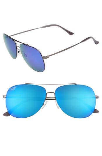 Maui Jim Cinder Cone 5m Polarizedplus2 Aviator Sunglasses - Satin Gunmetal/ Blue Hawaii
