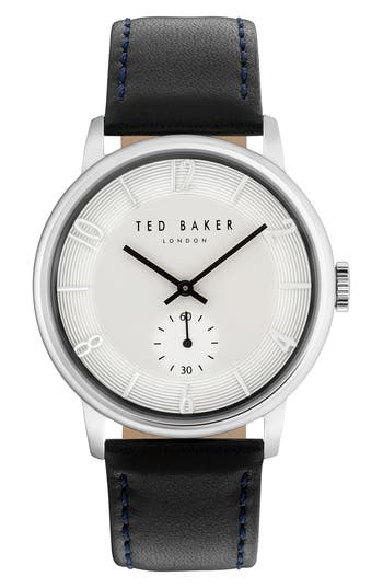 Ted Baker London Daniel Leather Strap Watch, 42Mm