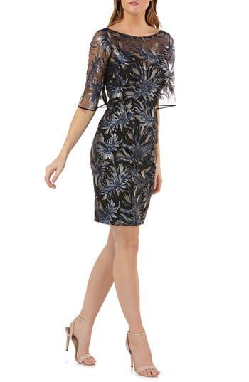 Carmen Marc Valvo Infusion Sequin Embellished Sheath Dress